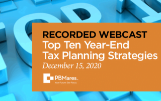 2020 top 10 year end tax planning strategies webinar