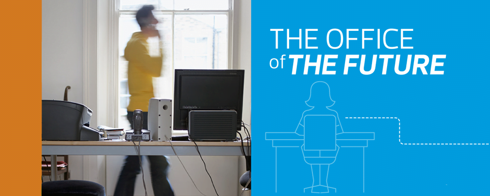 Image of a remote worker with a graphic titled The Office of the Future