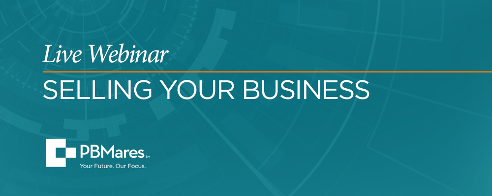 PBMares Live Webinar Selling Your Business