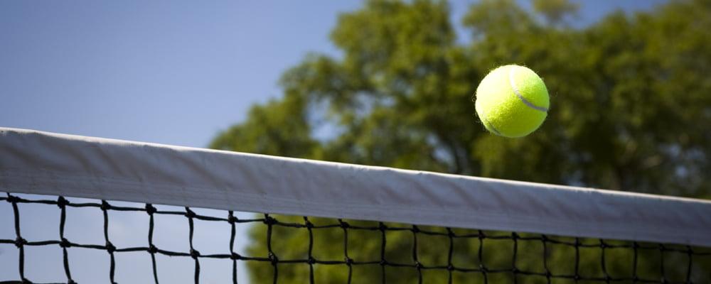 tennis ball going over a net